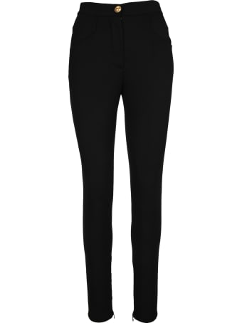 Balmain Skinny Cut Black Grain De Poudre Pants