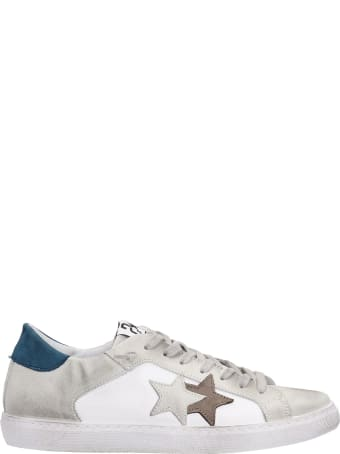 2Star Low Star Sneakers In White Suede And Leather