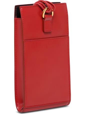 Jil Sander Tangle Red Leather Crossbody Bag For Smartphone