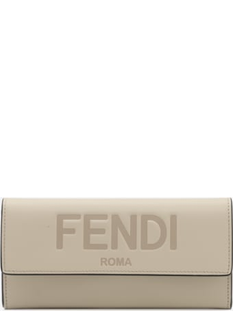Fendi Continental Wallet In Leather With Embossed Logo