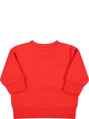 Hugo Boss Red Sweatshirt For Baby Boy With Blue Logo