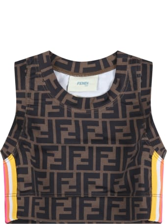Fendi Brown Top For Girl With Double Ff