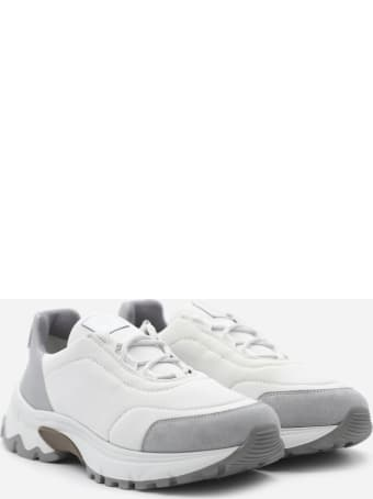 Eleventy Leather Sneakers With Contrasting Inserts