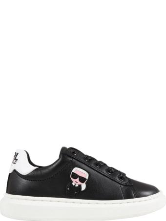 Karl Lagerfeld Kids Black Sneakers For Kids With Karl Lagerfeld