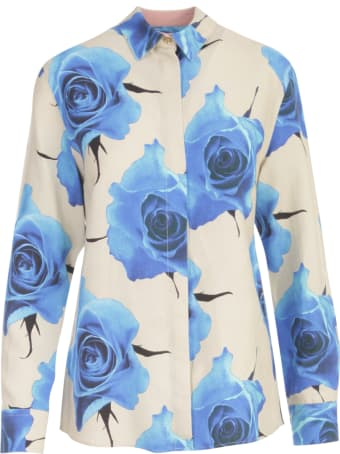 Paul Smith Flowers Printing Shirt W/lapel On Wrists