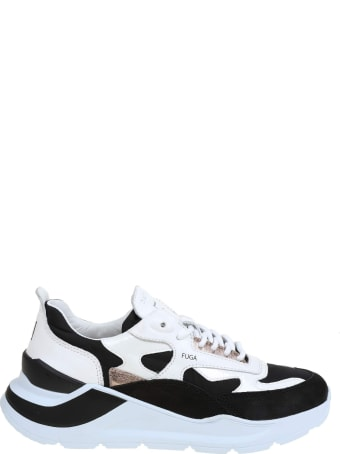 D.A.T.E. Black And White Leather Sneakers