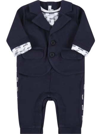 Hugo Boss Blue Jumpsuit For Baby Boy With Logo