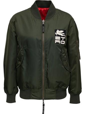 Etro Reversible Nylon Bomber Jacket With Logo