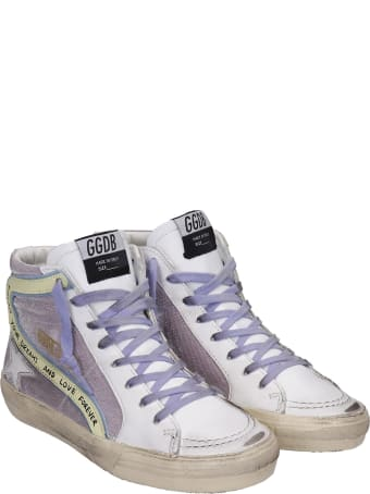 Golden Goose Slide Sneakers In White Leather And Fabric