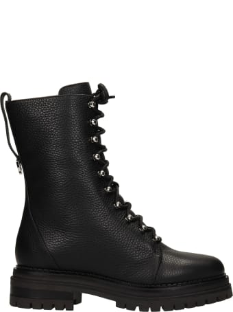 Sergio Rossi Combat Boots In Black Leather