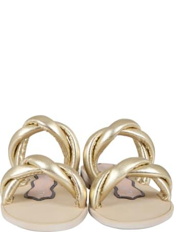 Francesca Bellavita Golden Sandals For Girl