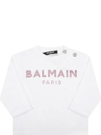 Balmain White T-shirt For Baby Girl With Logo
