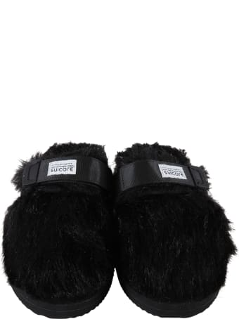 SUICOKE Black Sandals For Kids With Logo