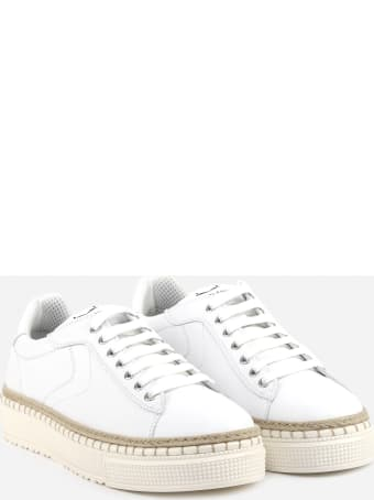Voile Blanche Leather Sneakers With Raffia Insert