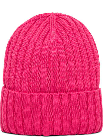 Moncler Pink Wool Hat With Logo Patch