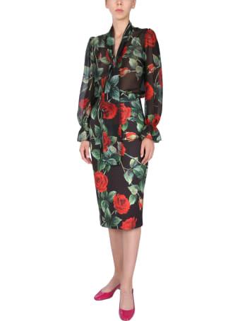 Dolce & Gabbana Long Skirt With Rose Print