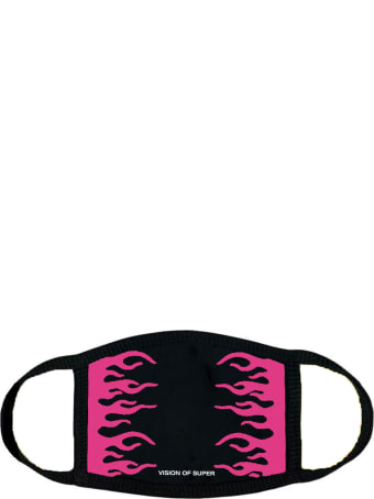 Vision of Super Black And Fuchsia Flames Face Mask