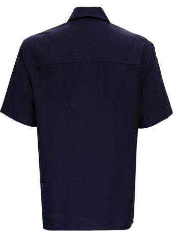 Ami Alexandre Mattiussi Blue Bowling Shirt In Viscose Blend