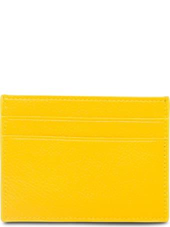Balenciaga Yellow Leather Card Holder With Logo Print