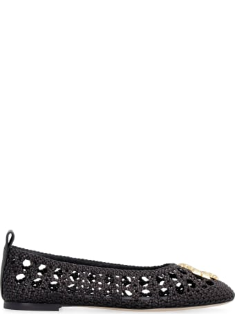 Tory Burch Eleanor Leather Ballet Flats With Logo