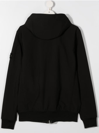 Stone Island Black Hoodie With Logo Patch