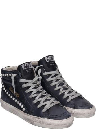 Golden Goose Slide Sneakers In Black Leather