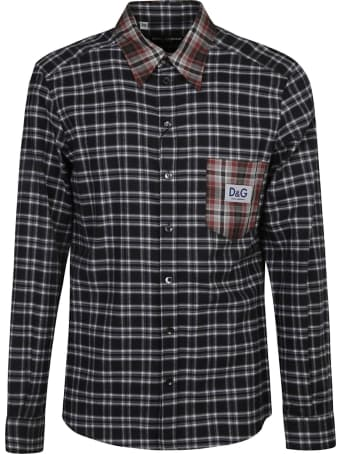Dolce & Gabbana Patched Pocket Logo Checked Shirt