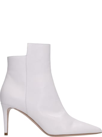 Sebastian Milano High Heels Ankle Boots In White Leather