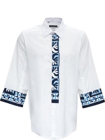 Dolce & Gabbana Oxford Patch Shirt In Cotton Poplin