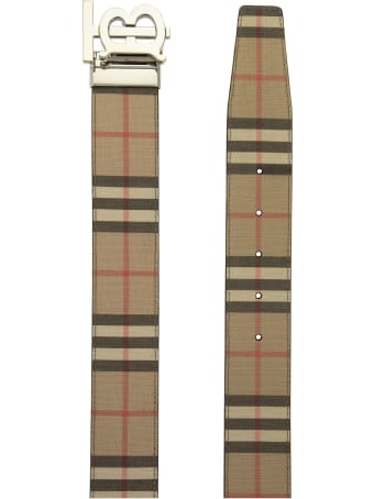 Burberry Tb 40 Plaque Rvs - Reversible Belt With Vintage Check And Monogram Pattern