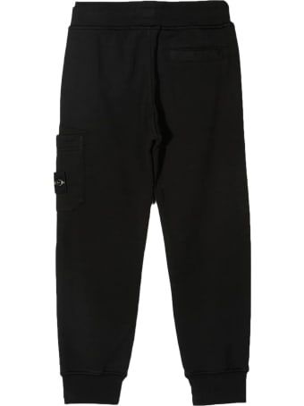 Stone Island Junior Black Cotton Track Pants