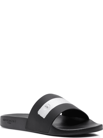 Givenchy Black Slides With Metallic Logo-tape Man