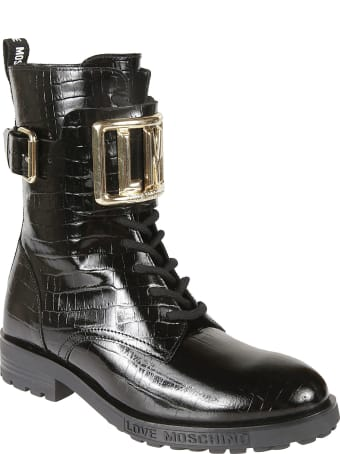 Love Moschino Croco Embossed Buckled Lace-up Boots