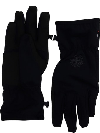 Stone Island Gloves In Black Polyester