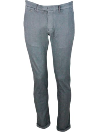 Sartoria Tramarossa Luis Slim Trousers In Stretch Cotton Gabardine With Prince Of Wales Print With America Pockets With Tailored Stitching
