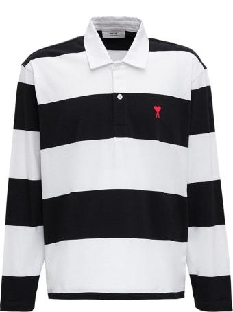 Ami Alexandre Mattiussi Striped Organic Cotton Polo Shirt With Logo