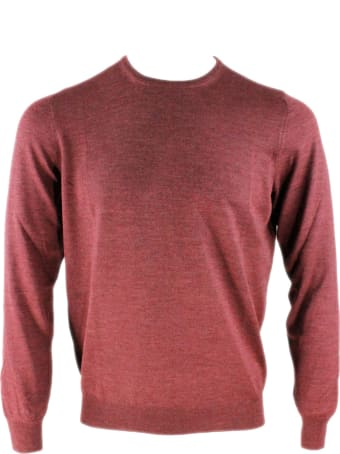 Barba Napoli Light Long-sleeved Crewneck Sweater In Wool And Silk