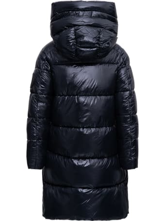 Save the Duck Long Ecological Black Down Jacket With Logo Patch