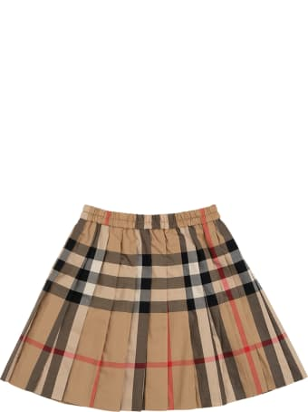 Burberry Vintage Check Cotton Pleated Skirt