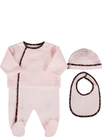 Fendi Pink Set With Double Ff For Baby Girl