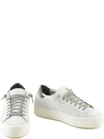 P448 White/snake Print Leather Women's Flat Sneakers