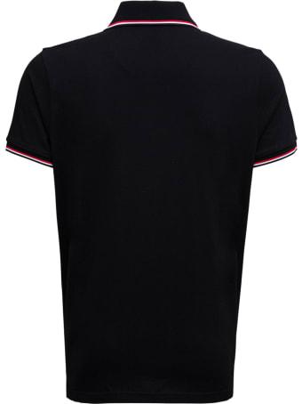 Moncler Black Cotton Piqet Polo Shirt With Logo Patch