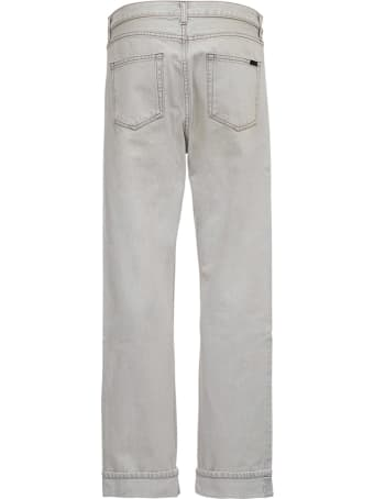 Saint Laurent Straight Cut Jeans In Gray Denim