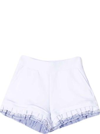 Monnalisa White And Light Blue Shorts