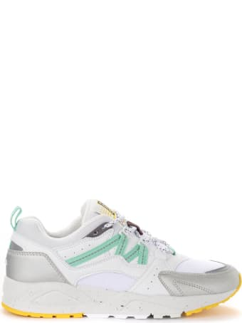 Karhu Fusion 2.0 Sneakers In White And Silver Leather And Fabric