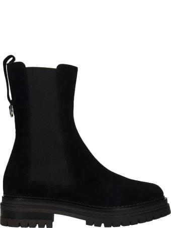 Sergio Rossi Combat Boots In Black Suede