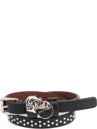 Alexander McQueen Black Skull Leather Studs Bracelet