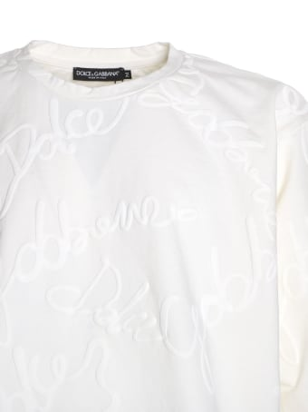 Dolce & Gabbana Cotton T-shirt With All-over Rubber Effect Logo