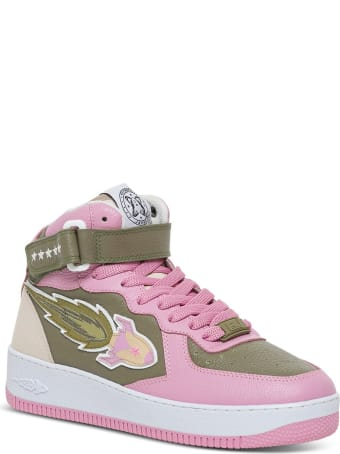 Enterprise Japan Rocket High Sneakers In Pink And Khaki Leather