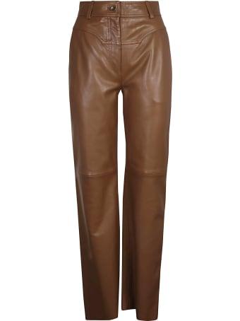 Alberta Ferretti Straight-leg Plain Leather Trousers